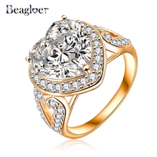 Beagloer Brand Big Heart Ring Gold /Silver Color Micro Pave Clear AAA Cubic Zirconia Forever Ring CRI0027