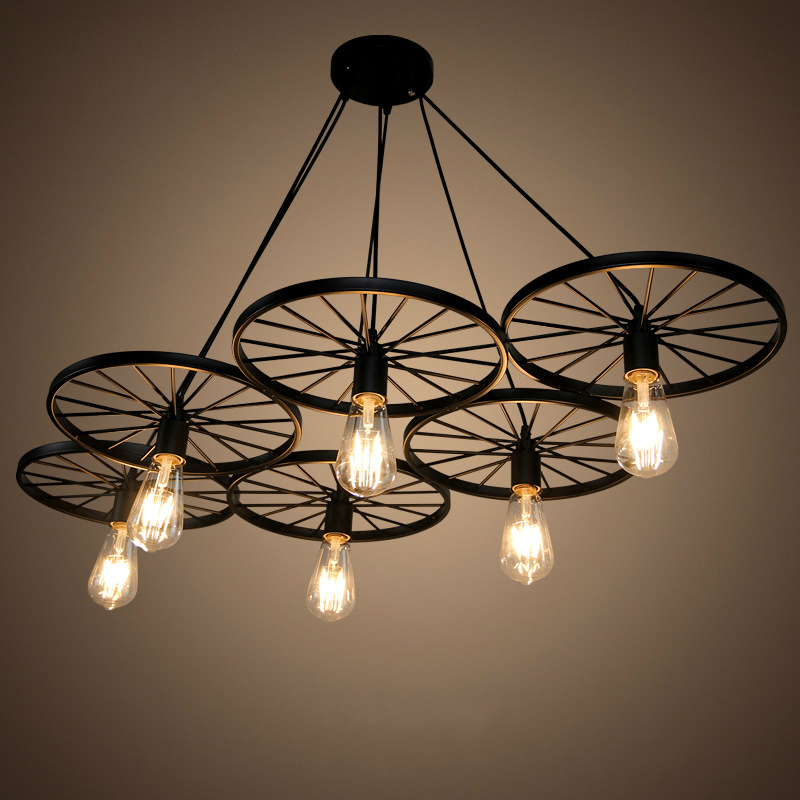 Retro industrial wheel rusty restaurant  bar decoration style design Kitchen Dinning room Pendant Lights retro Industrial stove<br>