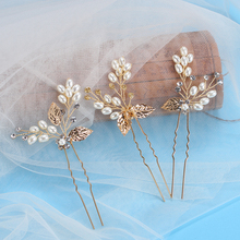 3pc/lot Gold Wedding Hair Pins Pearl Crystal Flower Bridal Hairpins Bride Rhinestone Hair Clip Hairclips Leaf Hairwear For Women(China)