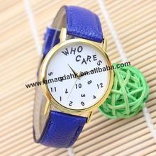 100pcs/lot 2015 New Who Cares & Numbers Cleanly Styled Dial Watch Woman Man Leather Watch Personality Girls Quartz Wrist Watches