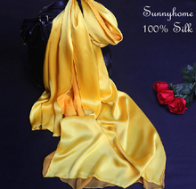 Golden Yellow Scarf Double Layer Scarves Muslim Islamic Fashion  Patchwork 100% Satin Silk shawls Necklace Scarfs Foulards Soie