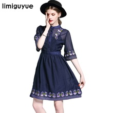 Vintage Ethnic Florals Embroidery Mexican Dress Summer Elegant Tunic Runway Designer Luxury Dress Boho People Beach Dress(China)