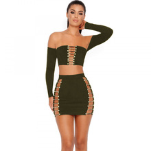 NCLAGEN 2017 New Women Autumn Sexy Bandage Hollow Out Tracksuit Slim Navel Bare Crop Tops Elastic Shirt Slash Neck Top Skirt Set(China)