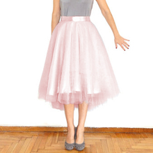 Bohemian High Low Tulle Skirts For Pretty Lady Pearl Pink Light Lavender Sky Blue Tutu Skirt For Women Clothing New 2016 Zipper
