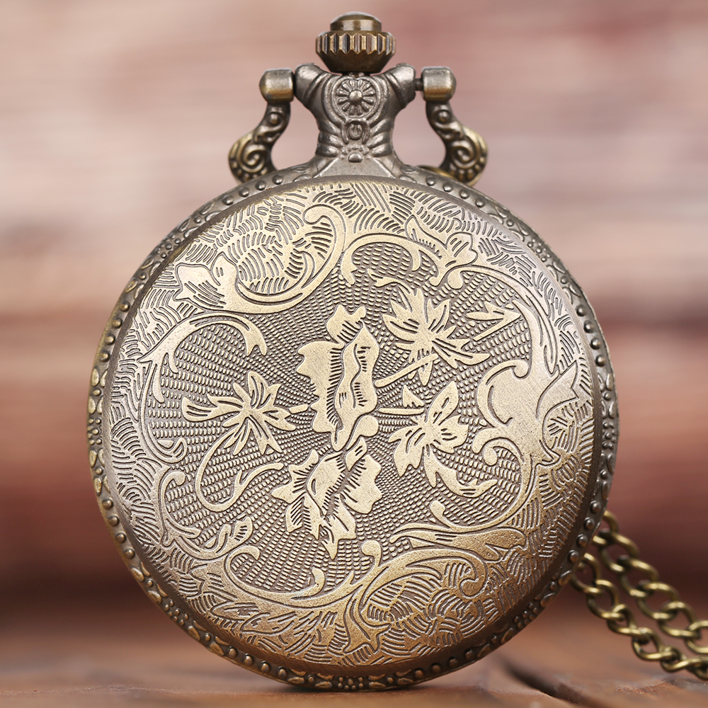 Mens Bronze Wolf Pendant Chain Pocket Watch Theme Full Hunter Skeleton Necklace Quartz Women Watches Vintage Clock With Gift Bag1 (5)