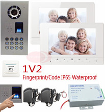 Video Intercom For 2 Apartments Fingerprint And Keyboard Unlock HD Camera 7inch Color 2 Monitor For Doorphone IP65 Waterproof