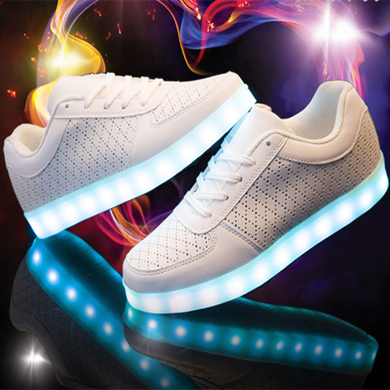 MWSC New Lace up Casual Light Up Shoes Women Shining LED Hollow Out Fashion Flat with White Luminous Lighted Shoes<br>