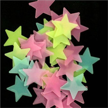 100pcs 3cm/3. 8cm Stars Luminous Stickers Fluorescent 3D Luminous Wall Stickers Glow In the dark Baby Kids Bedroom Home Decor(China)