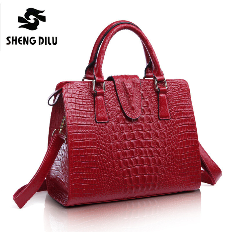 women's Luxury Crocodile Pattern bolsos bags for women genuine leather bag women messenger bags designer handbags high quality(China (Mainland))