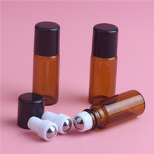 10PCS Excellent 3ml Amber Essential Oil Bottles, Small Glass Roll On Bottle With Plastic Lid. Perfume Sample Containers