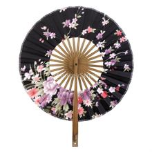 Japanese Windmill Circle Round Hand Fan Sakura Floral Folding Fan Black(China)