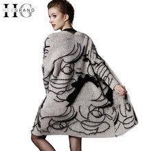 HEE GRAND 2016 New Character Print Medium Length Women Cardigans Plus Size Casual Oversize Scarf Drop Shoulder  Sweater  WZL1085