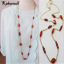 100cm European Style  Plated Noble Women Red Gem Crystal Long Chains Necklace V1631