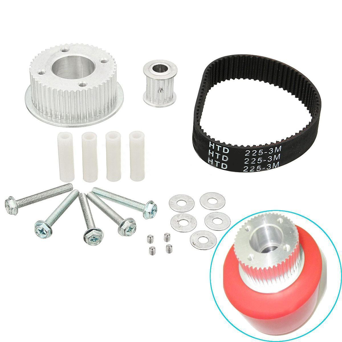 Mayitr 17PCS Electric Skateboard Pulley Motor Mount Drive Kit Parts for 80MM Wheels Skate Board Parts Accessories