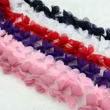 12 Colors lovely diy lace trim chiffon flowers 5 Yards/lot mix colors available craft trimming(China)
