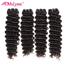 Mslynn Human Hair Bundles Deep Wave Brazilian Hair Weave Bundles 10-28 Inches Non Remy Hair Extension Natural Color(China)