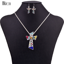 MS1504543 Fashion Jewelry Sets Hight Quality Necklace Sets For Women Jewelry Silver Plated Unique Cross Design Party Gifts