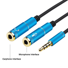3.5mm Headphone Mic Audio Y Splitter Cable Male to Dual Female Converter Adapter