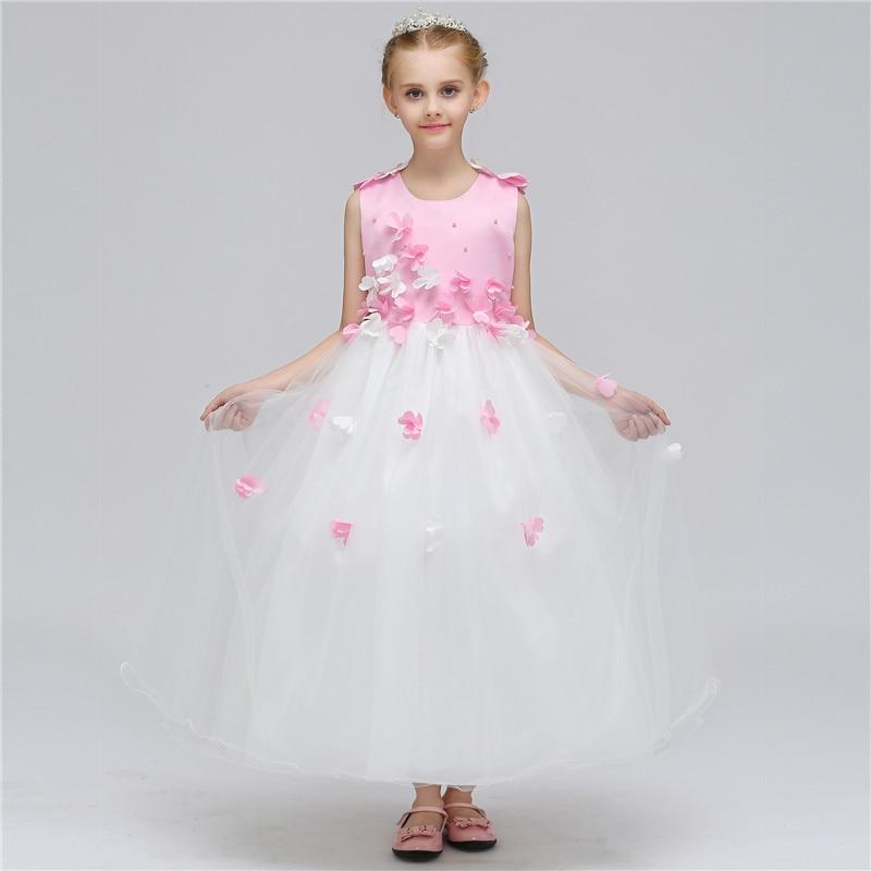 New Flower Fairy Girls Tutu Dress For 12 Years Children Wedding Party Prom Custom Floral Sleeveless Long Girl Dresses Cloth<br>