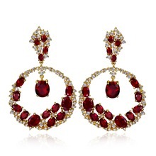 Trendy Style Women Big Earring Made with AAA Cubic Zirconia Higher Quality Party Earrings Allergy Free Lead Free