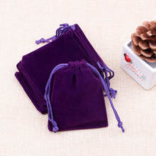 50pcs/lot Dark Purple Color Velvet Bags 7x9cm Pouches Jewelry/Coin Packing Bags Candy/Wedding Gift Bags Free Shipping
