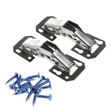2Pcs 90 Degree Easy Mount Concealed Kitchen Cabinet Cupboard Sprung Door Hinges Metal -B119