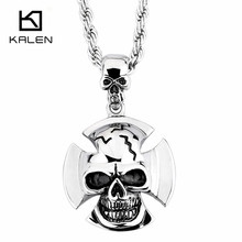 2017 Kalen New Hip Hop Punk Sweater Jewelry  Stainless Steel Skull Pendant Necklaces Fashion Cool Men Cheap Accessory Gifts
