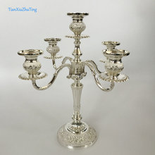 TianXiuZhuTing Candelabra 5 Branch White Base Zinc Alloy Silvery And White Color(China)