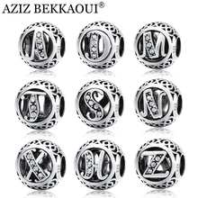 AZIZ BEKKAOUI Brand Design 925 Silver Beads Original Alphabet Beads Fit Pandora Charm Bracelet 925 Sterling Silver Letter Charms(China)