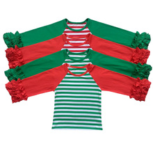 Bulk Price Wholesale Children's Boutique Clothing Girls Knitted Cotton Tops Wholesale Baby Icing Shirts christmas raglans shirt(China)