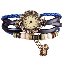 New Vintage Quartz Weave Around Leather Cat Bracelet Lady Woman Wrist Watch Relogio Feminino Wholesale(China)