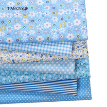 TIANXINYUE 7pcs 50cmx50cm Blue 100% Cotton Fabric for patchwork tissue to sew DIY Quilting fat quarter Textile clothing fabric