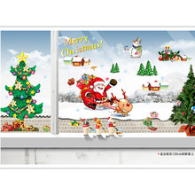Chrismas Santa Claus Tree Wall Stickers Room Art Removable Paper Decoration(China)