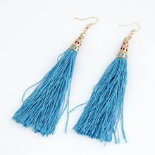 Boho Fiber Blue Tassel Long Drop Earrings for Bridal Women Gold color Bohemia Fashion Wedding Party Ear Jewelry Dangle Earrings