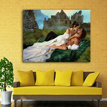 Lovers Kiss Romance Painting Art Picture Canvas Print Wall Art Modern Landscape Painting For Living Room Home Decor Unframed(China)