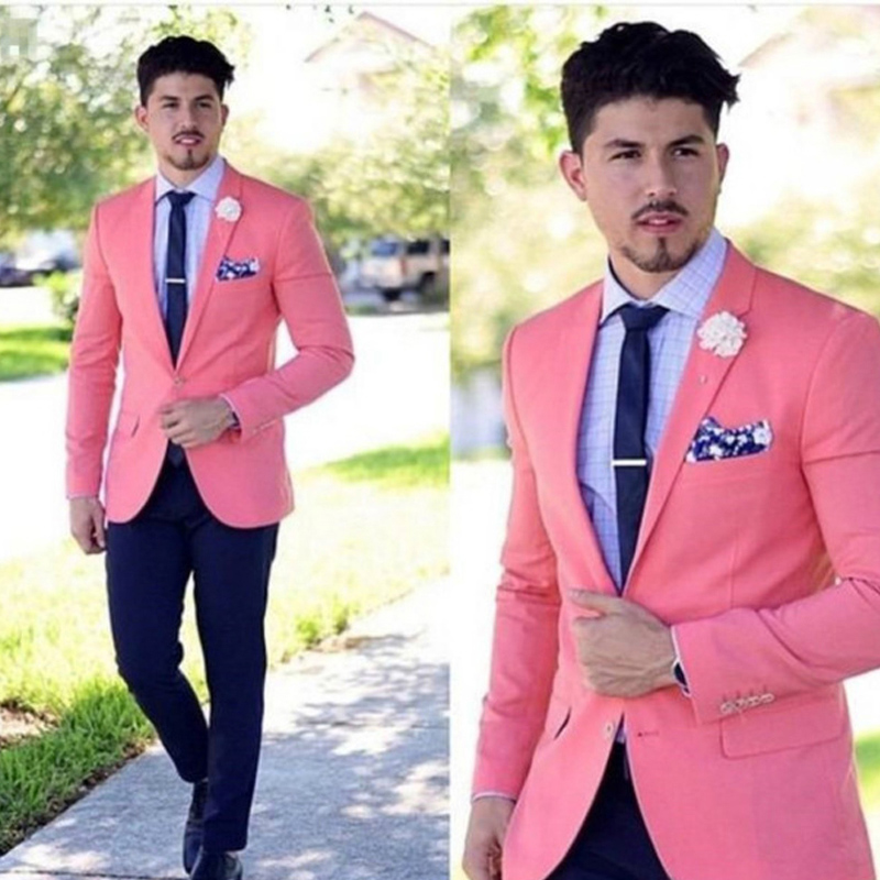 Slim Fit Pink Men Suits for Prom Party Stage Costumes 2 Piece Custom Made Wedding Groom Tuxedos Jacket Pants Set Male Blazer