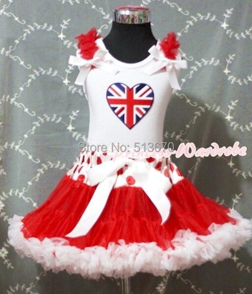 Valentine White Pettitop British Heart &amp; Red White Dot Waist Pettiskirt Set 1-8Y MAPSA0244<br>