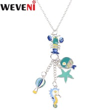 WEVENI Statement Enamel Hippocampus Shrimp Fish Chain Necklace Pendants Collar Ocean Animal Jewelry Fashion Women Accessories(China)