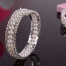 2015 hot sell Bride Wedding 2 Rows Crystal 1 Row Faux Pearls Bangle Bracelet for Dress party 56VX