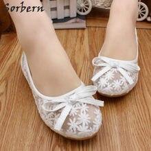 Sorbern White Blue Summer Wedding Shoes Mesh Flower Flat Heels Woman S  Footwear White Shoe Of Mariee Comfortable Bridal Flats ba8146919950