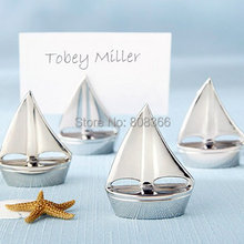 "(50 Pieces/lot) Beach Themed Wedding favor ""Shining Sails"" Silver Place Card Holders and Wedding and Party decoration gift(China)"