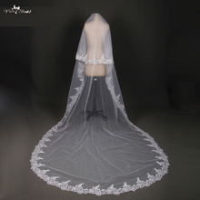 LZP028 Bride Veils White Applique Tulle veu de noiva Long Wedding Veils Bridal Accessories Lace Bridal Veil(China)