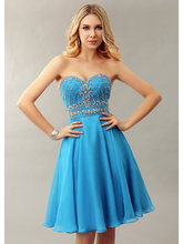 2016 Informal Blue Short Knee Length A-line Beaded Sweetheart Chiffon Girls Cocktail Dresses Short Prom Dresses New Hot