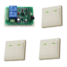 DC 12V 24V Wireless Remote Control Switch System Radio Controller Switch Relay Receiver  3 Wall Transmitter For Curtain Lighting