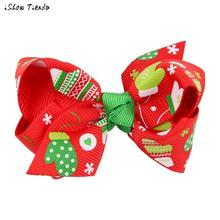Christmas Girl Hair Clip Cute Snowman Printing Big Bowknot Hairpin Headdress Acessorio Para Cabelo #1102(China)