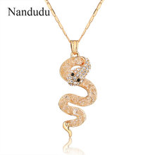Nandudu Snake Pendant Chain Necklace Charming Women Crystal Jewelry Snake Chain Flexible Snake Necklace Gift CN137