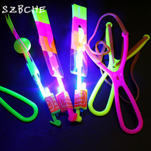 5 pcs make LOGO blue light Novelty kids LED flying toys led slingshot amazing arrow helicopter party supply