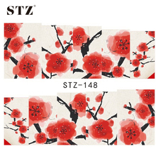 1pcs Nail Sticker NEW Winter Flower Red Designs Nails Water Transfer Decor Decals Foils Nail Art DIY Manicure Accessory STZ148