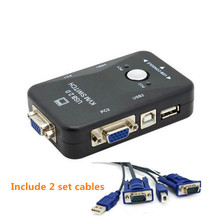2 Port USB KVM Switch VGA Switch box  KVM USB Mouse Keyboard Monitor Switch vga splitter with cable free shipping