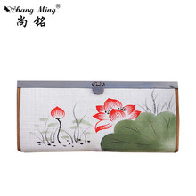 New 2017 Female Wallet Linen Fabric Women Wallet National Style Ink Lotus Flower Painting Purse Lady Wallet Long Shape Card Bag